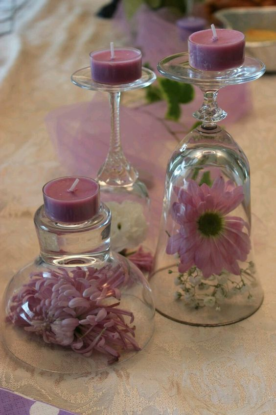 Centros de mesa usando copas de cristal copas de cristal - Cristal para mesa ...