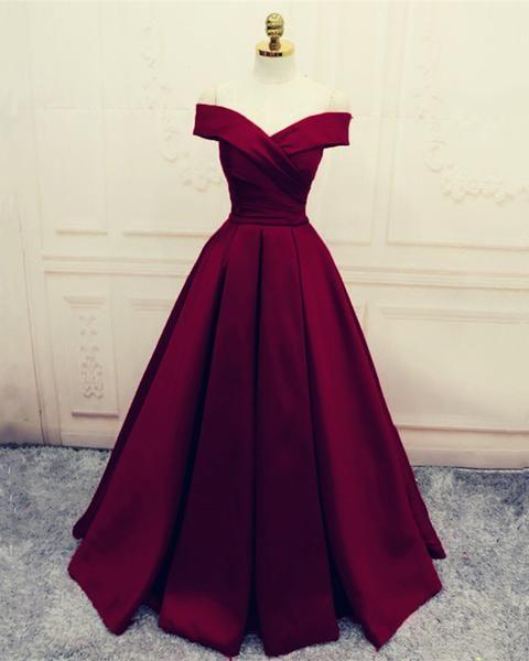 Photo of Simple V-neck Off Shoulder Prom Dresses Long Evening Gowns