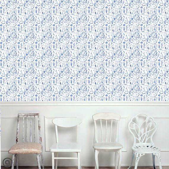 Removable Wallpaper Cobalt Toile Peel Stick Self Adhesive Fabric Temporary Wallpaper Reposi Peel And Stick Wallpaper Removable Wallpaper Wallpaper Samples