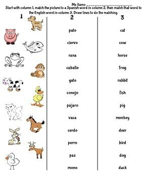 Spanish Animal Matching Spanish Animals English Words Spanish
