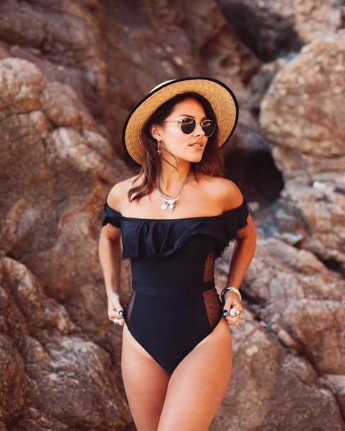 New Look Black Bardot Mesh Side Swimsuit Teamed With Ribbon-Trimmed Straw Wide Brim Hat