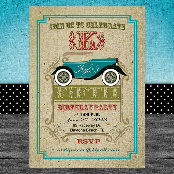 Vintage Car Theme Invitation Card Printable Digital