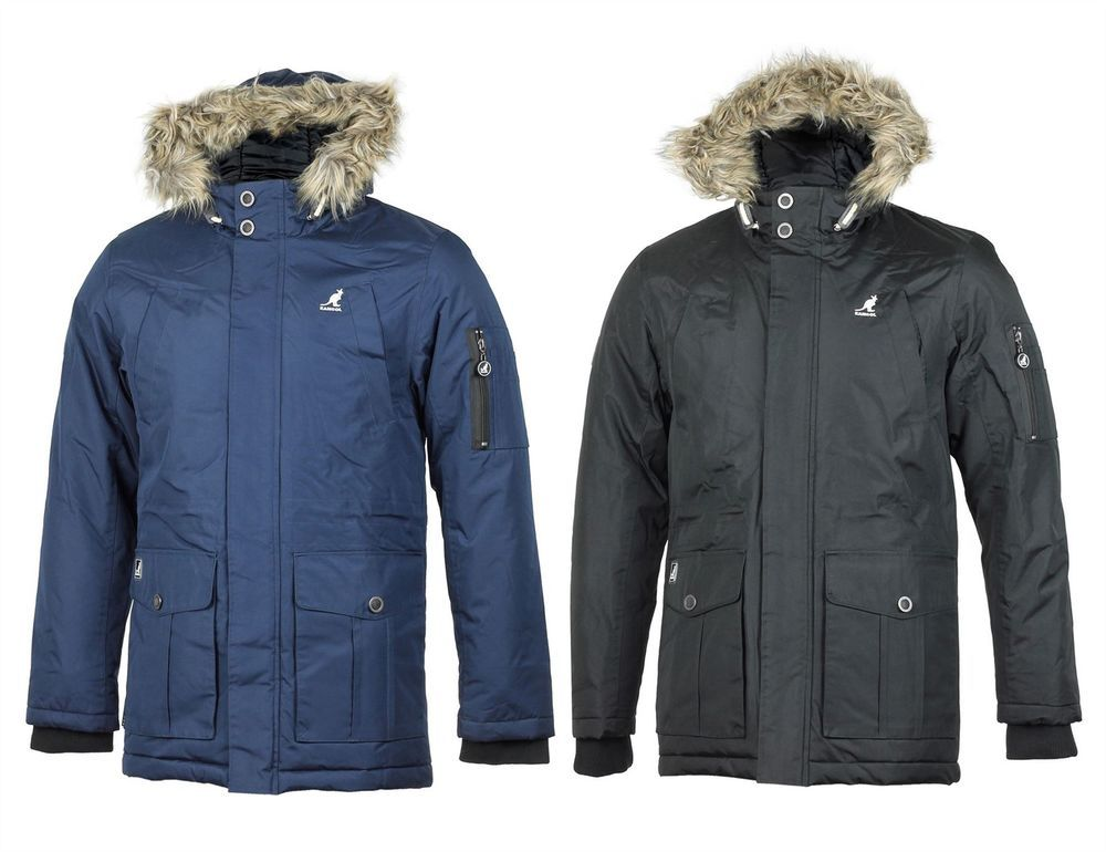 a044fa9ef Details about Mens Kangol Winter Heavy Duty Padded Parka Jacket Faux ...
