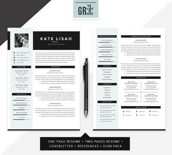 professional modern resume cv template for word us letter and a4