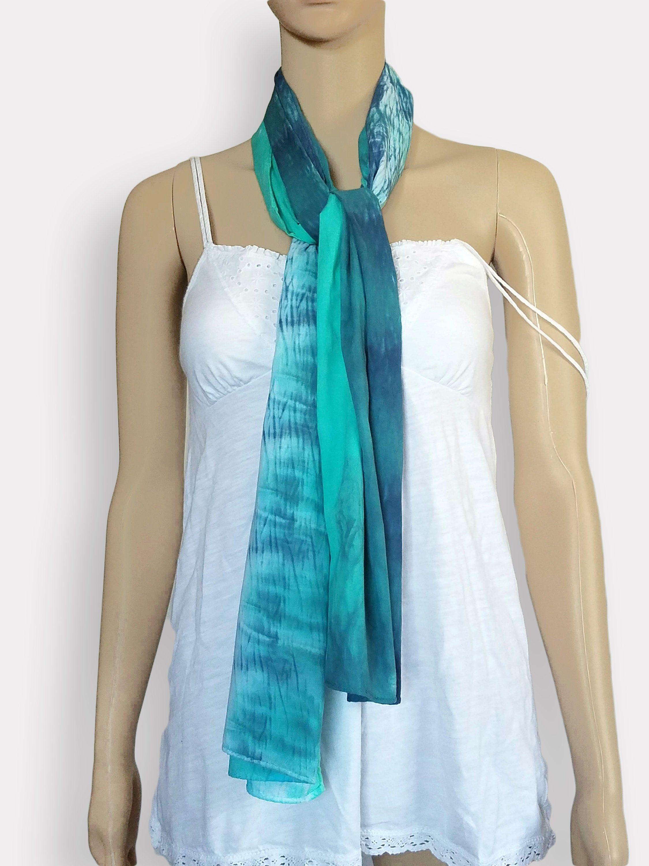 Tie Dye Scarf Cotton Gauze Scarf Linear Lightweight Scarf Etsy Lightweight Scarf Tie Dye Scarves Gauze Scarf
