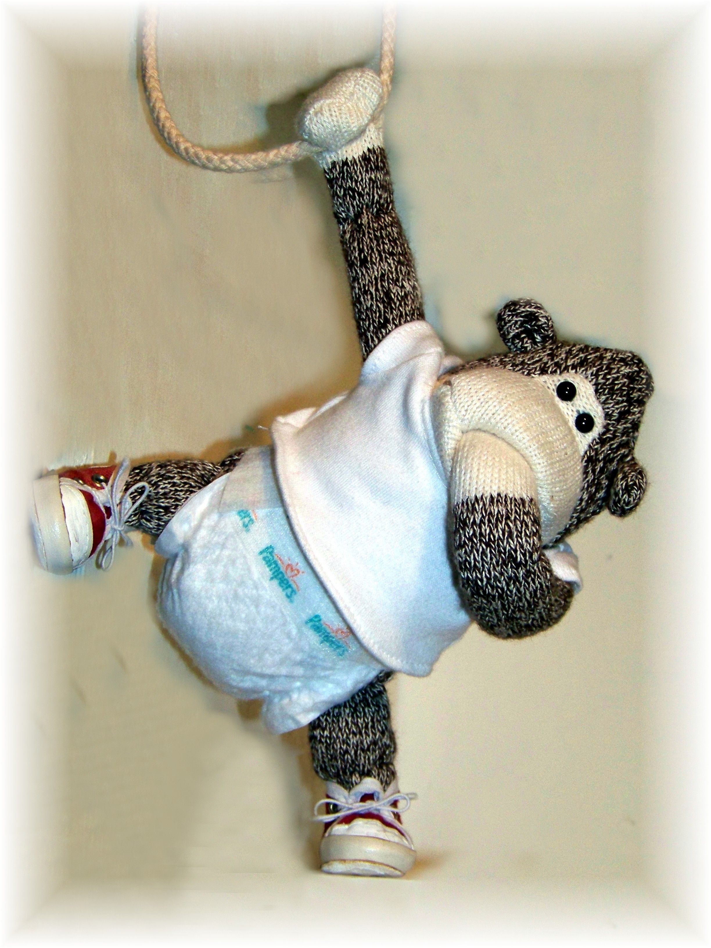 Baby Sock Monkey Gorilla my sister gave me. I put shoes and diaper on for fun. One of my favorite gifts.