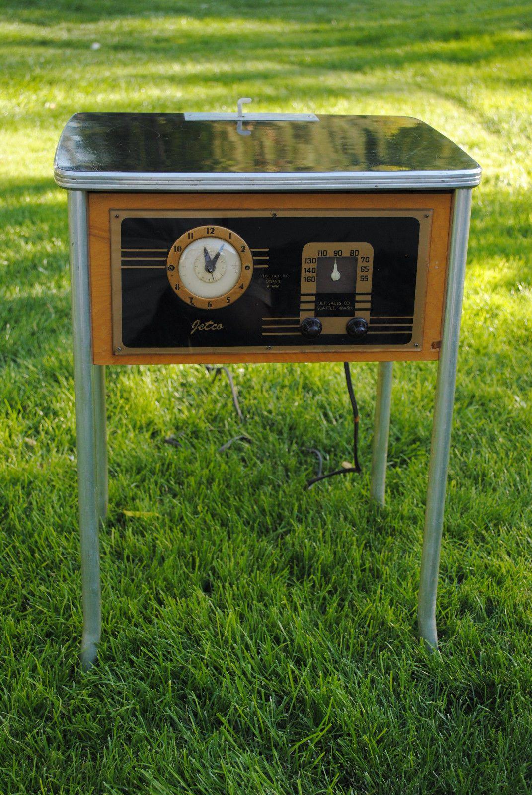 Jetco Motel Radio 1940 1950 1 Dime 1 Hour RARE Black Art Deco Vintage PL 12