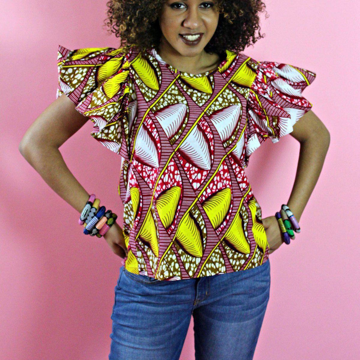african print buttefly blouse | tops | Pinterest | Africanos, Moda ...