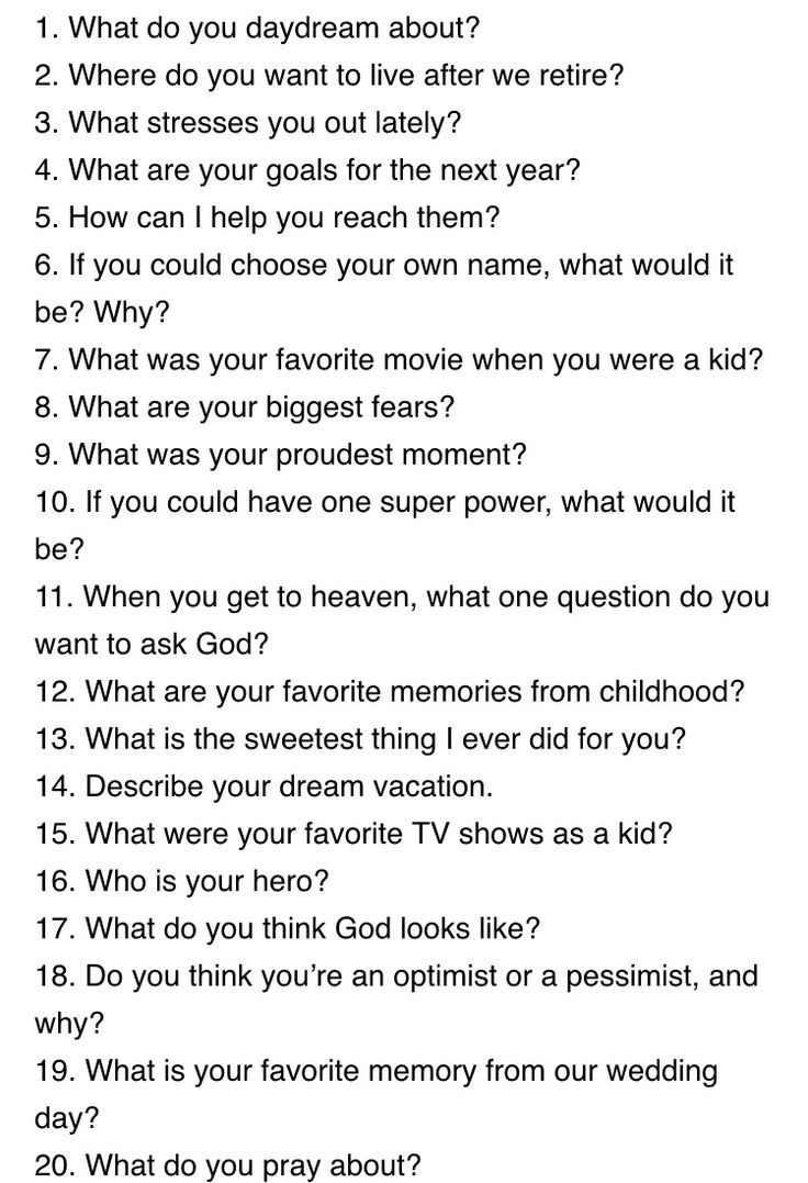 20 Questions to Ask a Guy