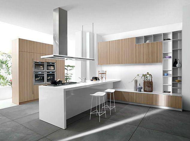 Modern Italian Style Wood Veneer Kitchen Cabinet, View wood veneer