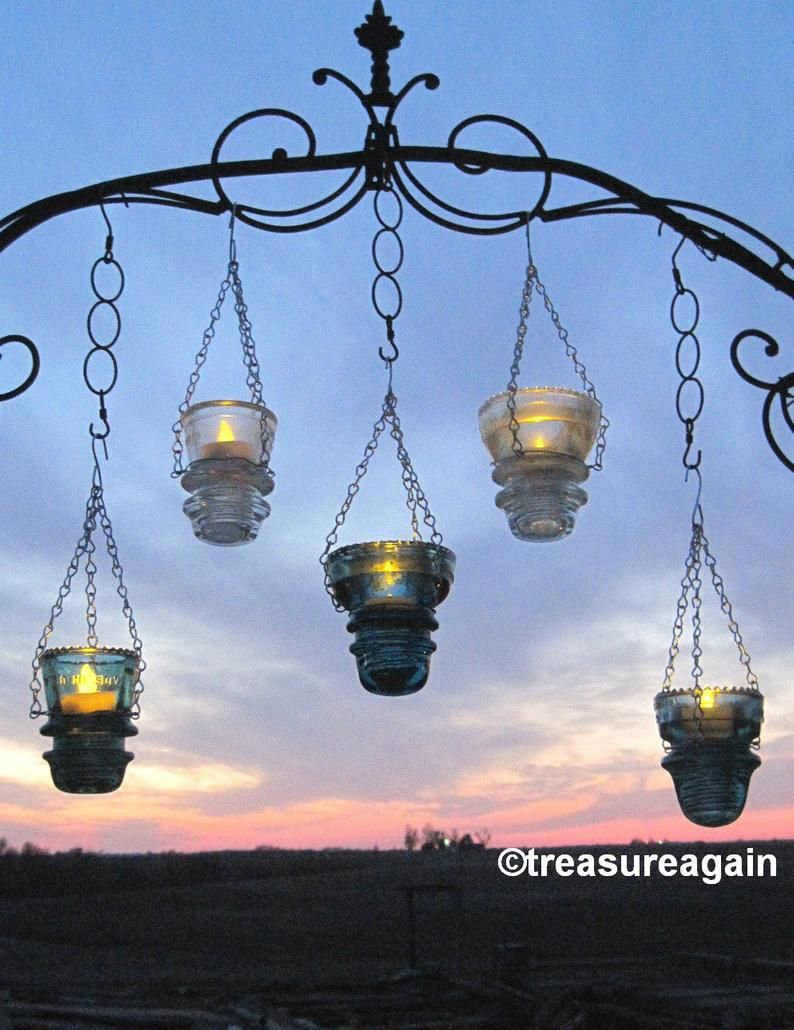 Diy Insulator Hanger Lantern Tea Light Holder Outdoor Hanging Lanterns Or Recycled Garden Decor Hangers Only With Images Lantern Tea Light Holders Outdoor Hanging Lanterns Vintage Garden Decor