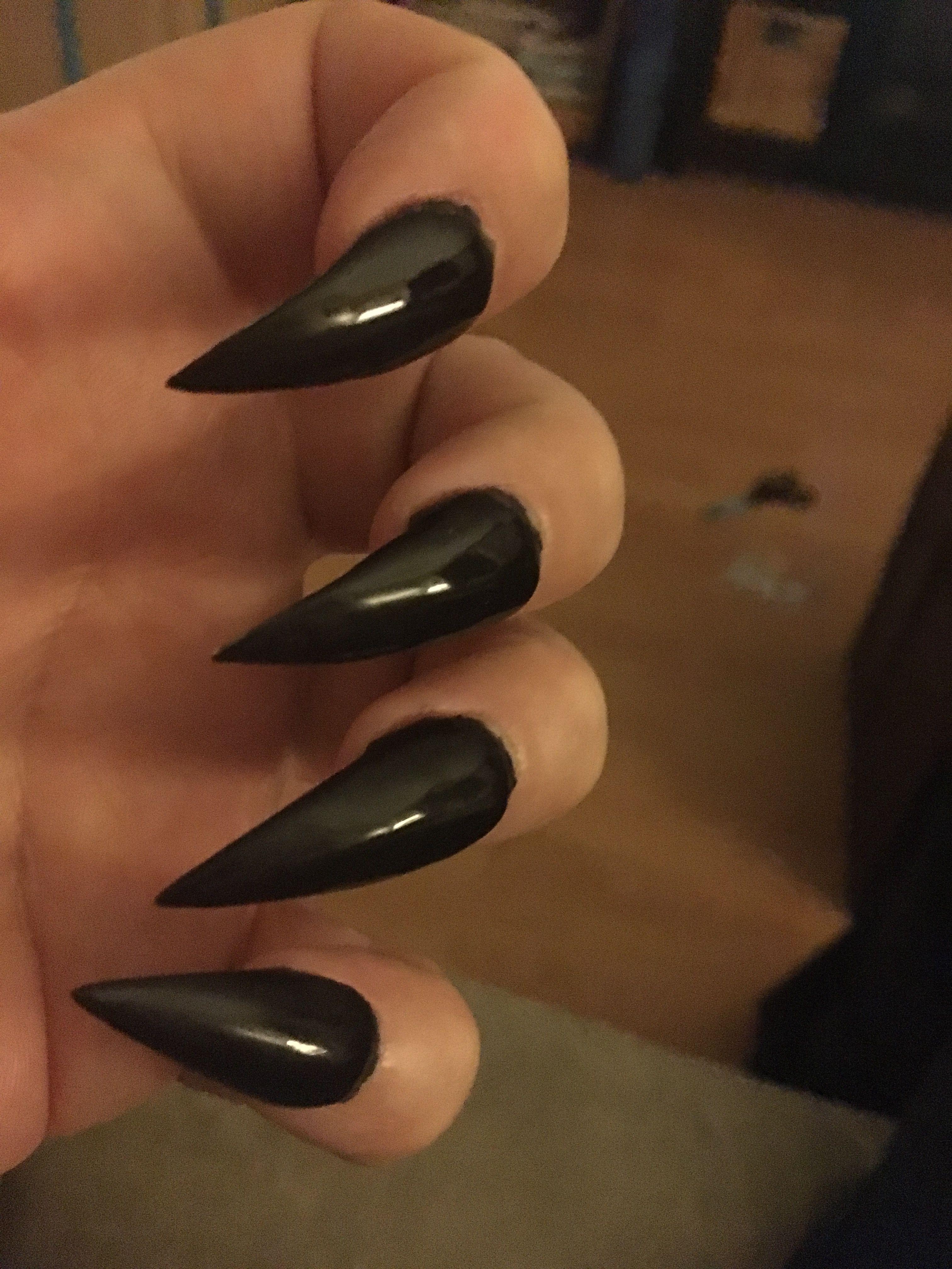 Black Claws Black Stiletto Nails Stiletto Nails Curved Nails