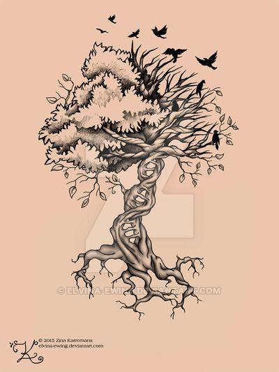 Tree Of Life Birds Dna Tattoo By Elvina Ewing