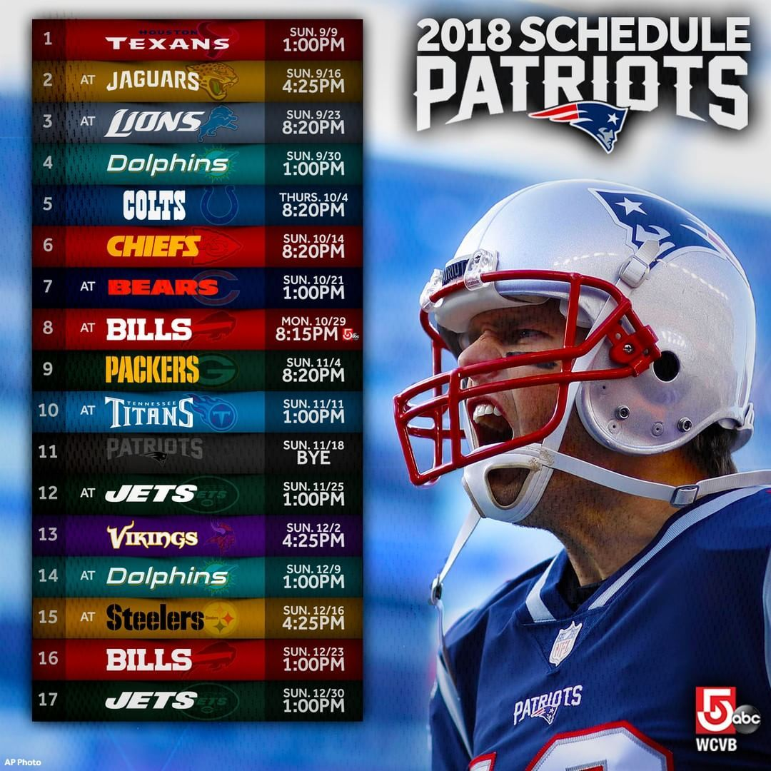 2018 Patriots Nfl Schedule Released Here S The Path To Superbowlliii New England Patriots Football Patriots Football New England Patriots Schedule