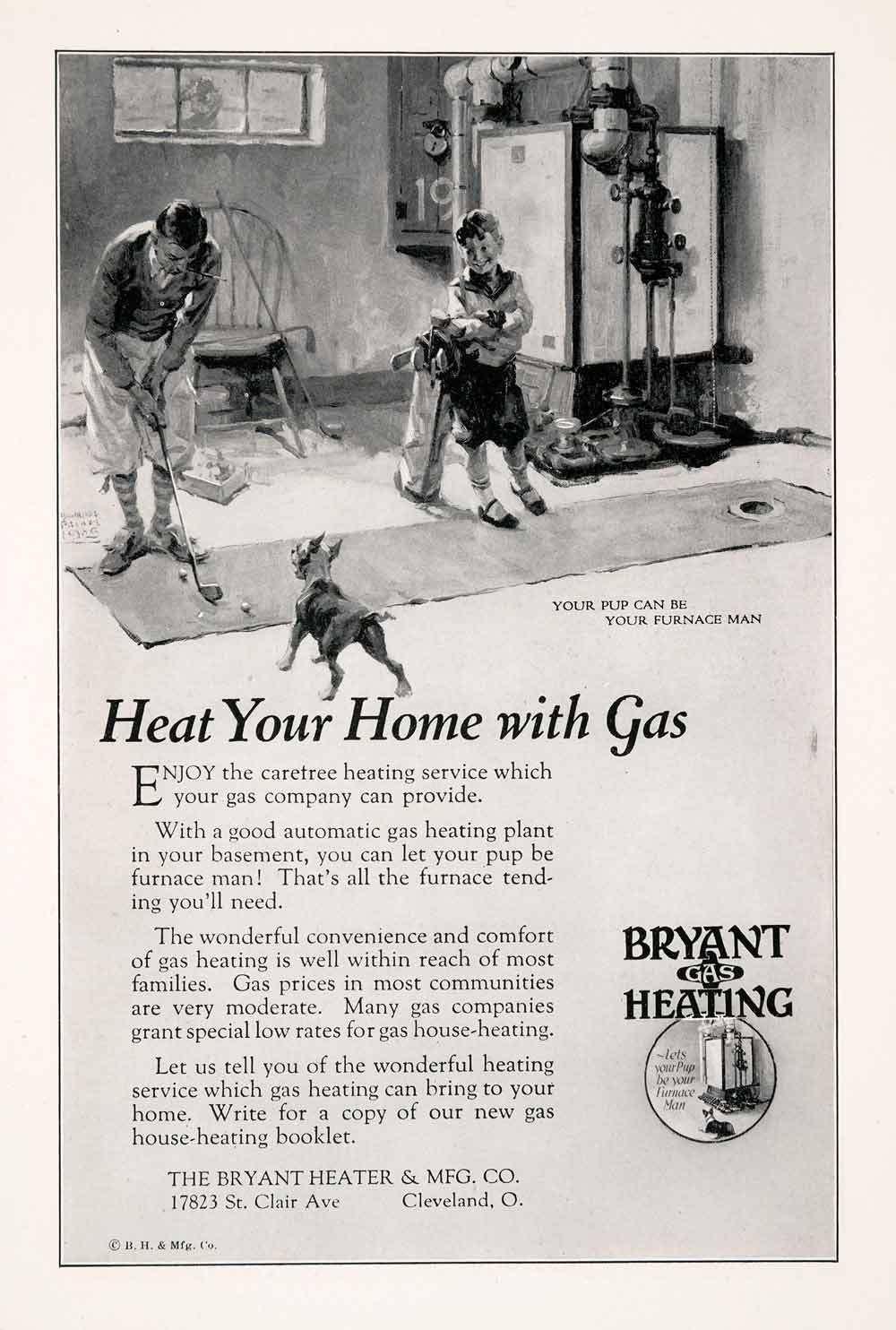 1927 Ad Bryant Gas Heating Heater Cleveland Ohio Golf