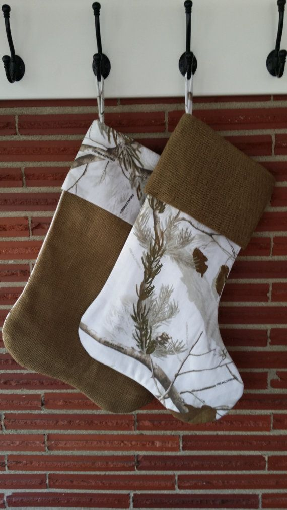 Set of Two Burlap and Realtree AP Snow Camo Christmas Stockings ...