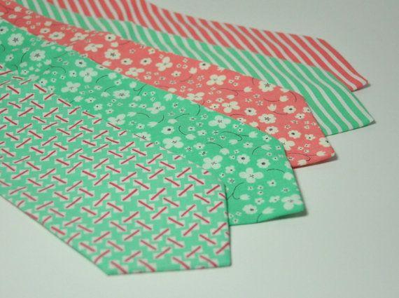 Wedding Neckties - Coral Pink and Mint Green Men\'s Necktie ...