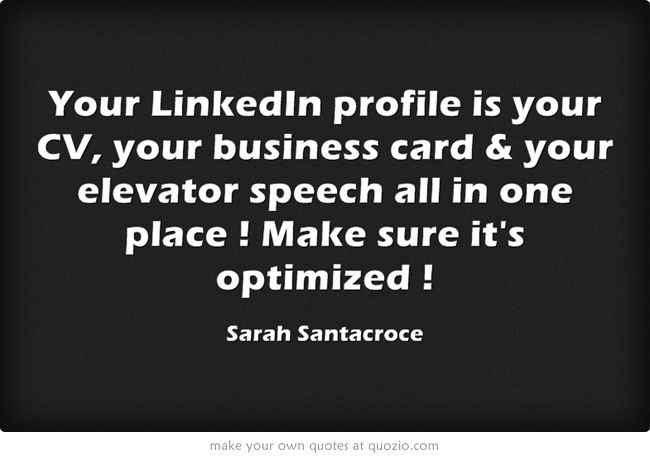 Your LinkedIn Profile Is CV Business Card Elevator Speech All In