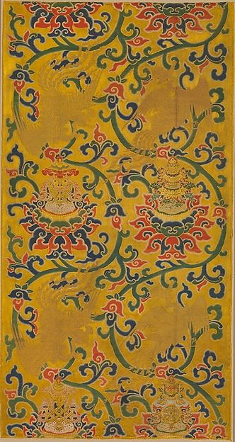 "Textile Panel with Phoenixes and Lotuses, 15th–16th century. Ming dynasty (1368–1644). China. The Metropolitan Museum of  Art,  New York. Purchase, Friends of Asian Art Gifts, in honor of Douglas Dillon, 2001(2001.471)  | This work is exhibited in the ""Chinese Textiles: Ten Centuries of Masterpieces from the Met Collection"" exhibition, on view through June 19, 2016. #AsianArt100"
