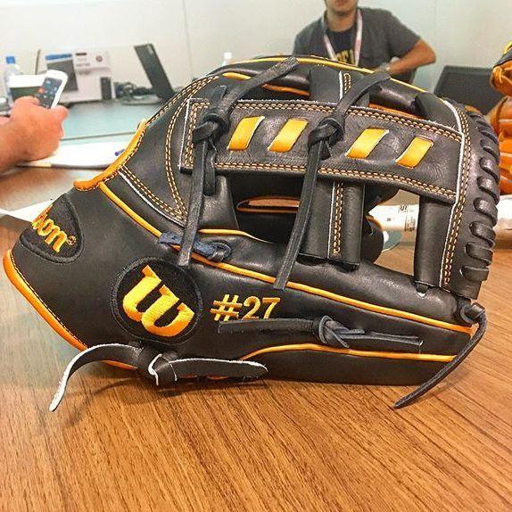 Wondering What Glove Jose Altuve Uses Check Out Jose Altuve 39 S Glove A Custom Wilson A2k 1716 Single P Baseball Glove Marlins Baseball Baseball Tee Shirts