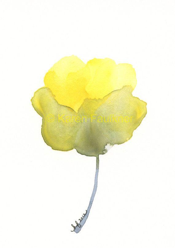 Watercolor yellow and grey flower print optimism optimism art print giclee watercolor flower yellow by karenfaulknerart mightylinksfo Gallery