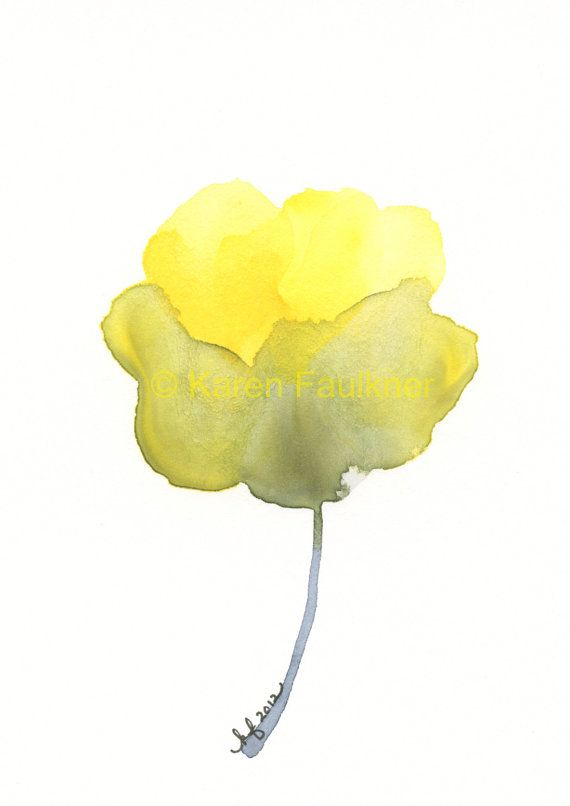 Optimism Yellow Grey Flower Original By Karenfaulknerart On Etsy