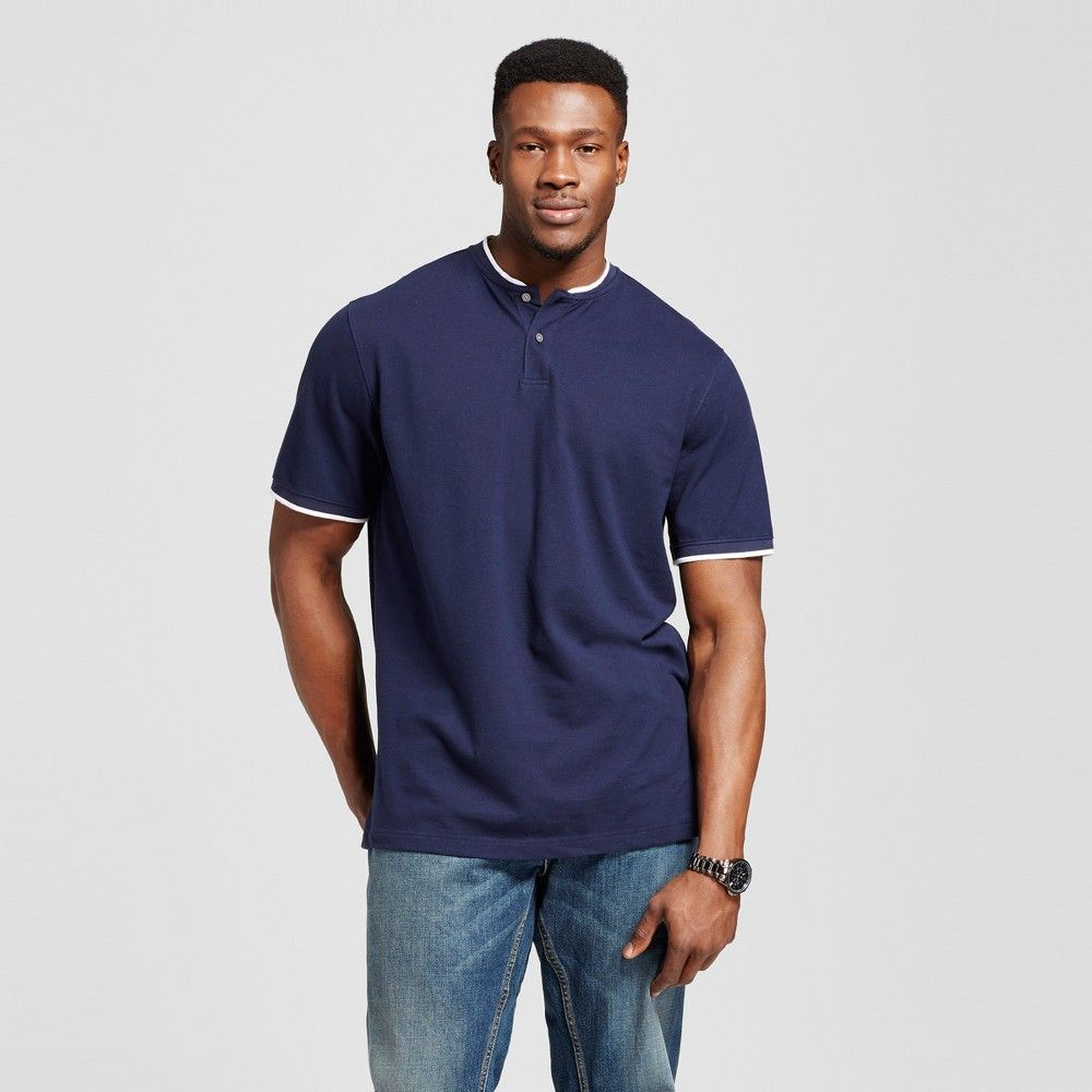 men 39 s big tall henley shirt navy blue 5xb tall