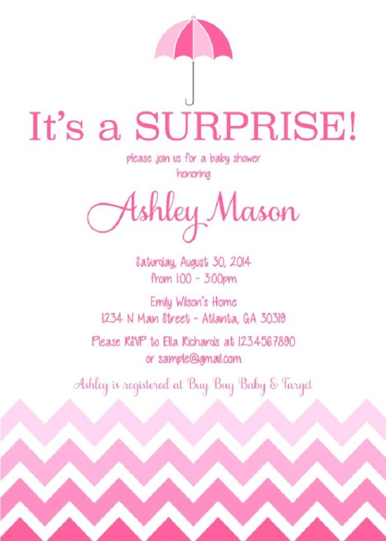 Surprise Baby Shower Invitation Card Party