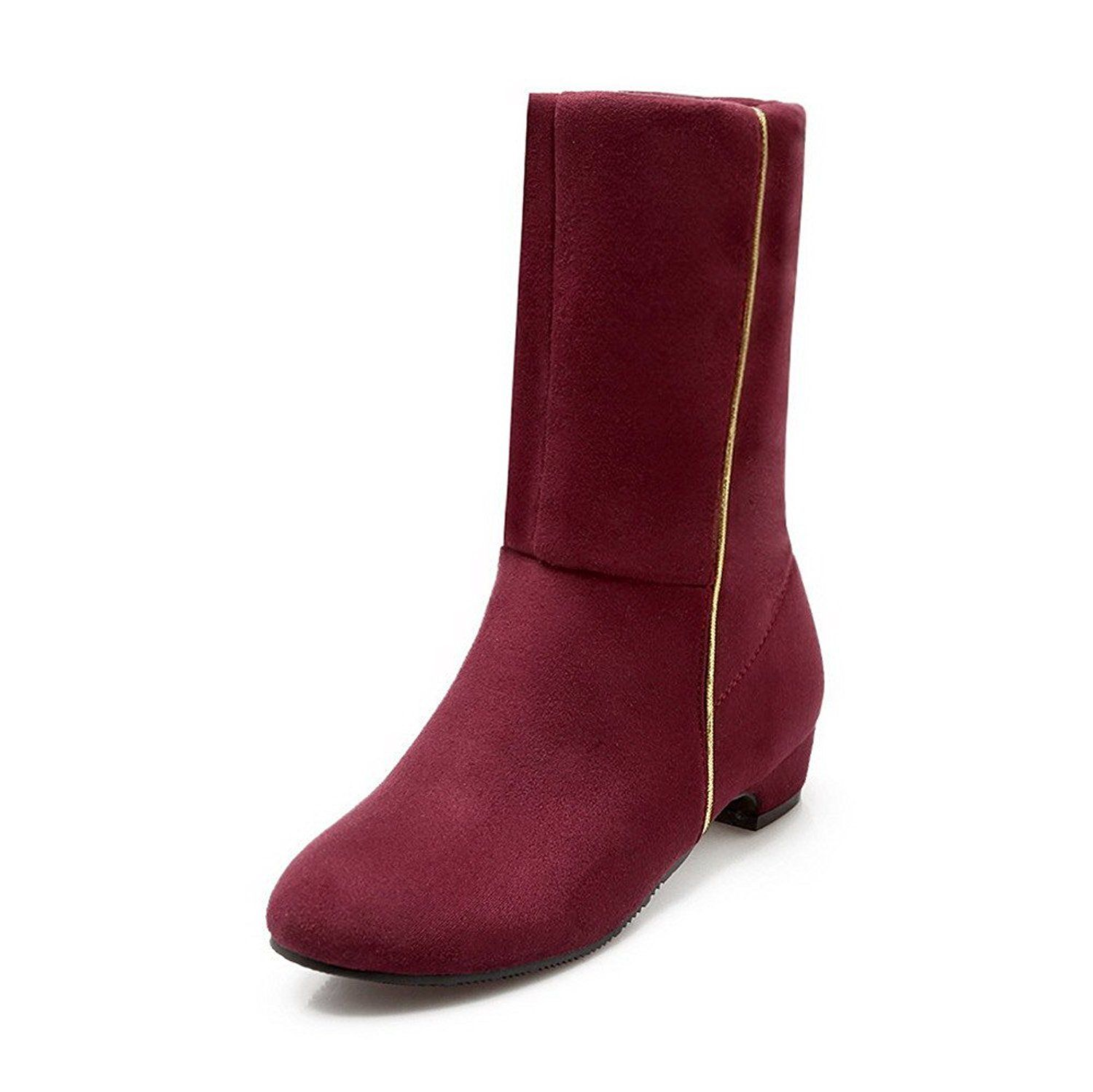 Women's Round Closed Toe Low-top Low-Heels Solid Imitated Suede Boots