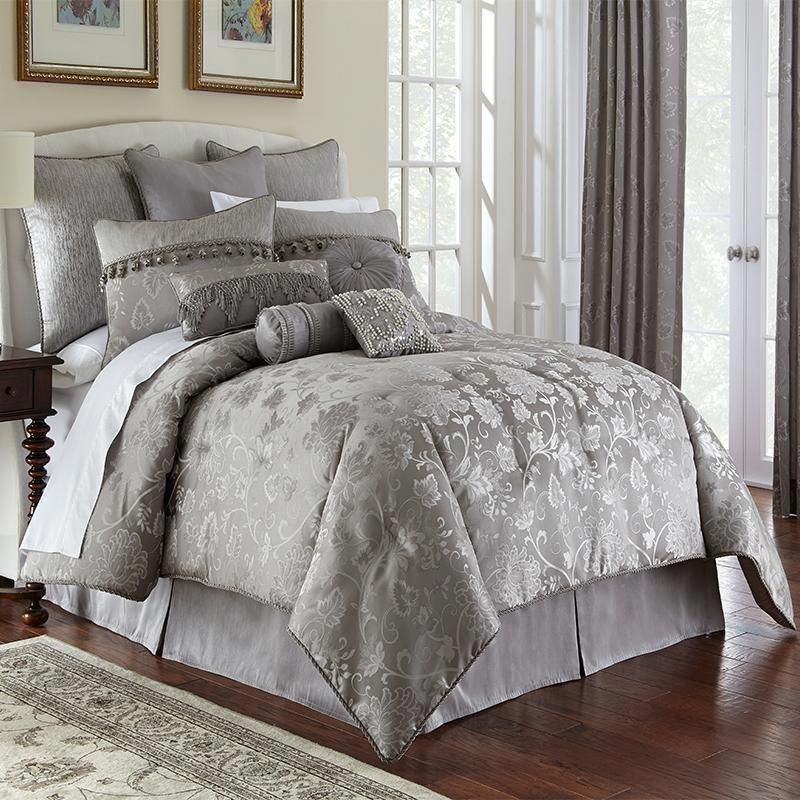 Samantha Platinum 4 Piece Comforter Set Luxury Bedding Rustic