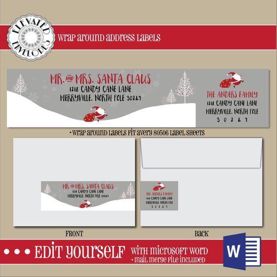 editable christmas address label template wrap around label
