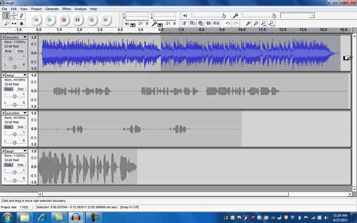 Audacity -Lesson2, Editing Multiple Tracks