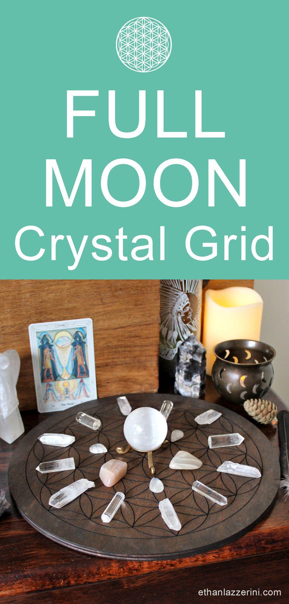 Full Moon Crystal Grid plus Gratitude Ritual #newmoonritual Full Moon Crystal Grid - Full Moon gratitude ritual with Moonstone #newmoonritual
