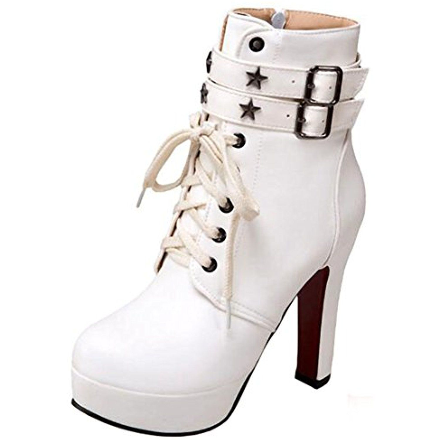 Women's Stylish Studded Stars Buckled Straps Round Toe Chunky High Heel Platform Lace up Zipper up Ankle Booties