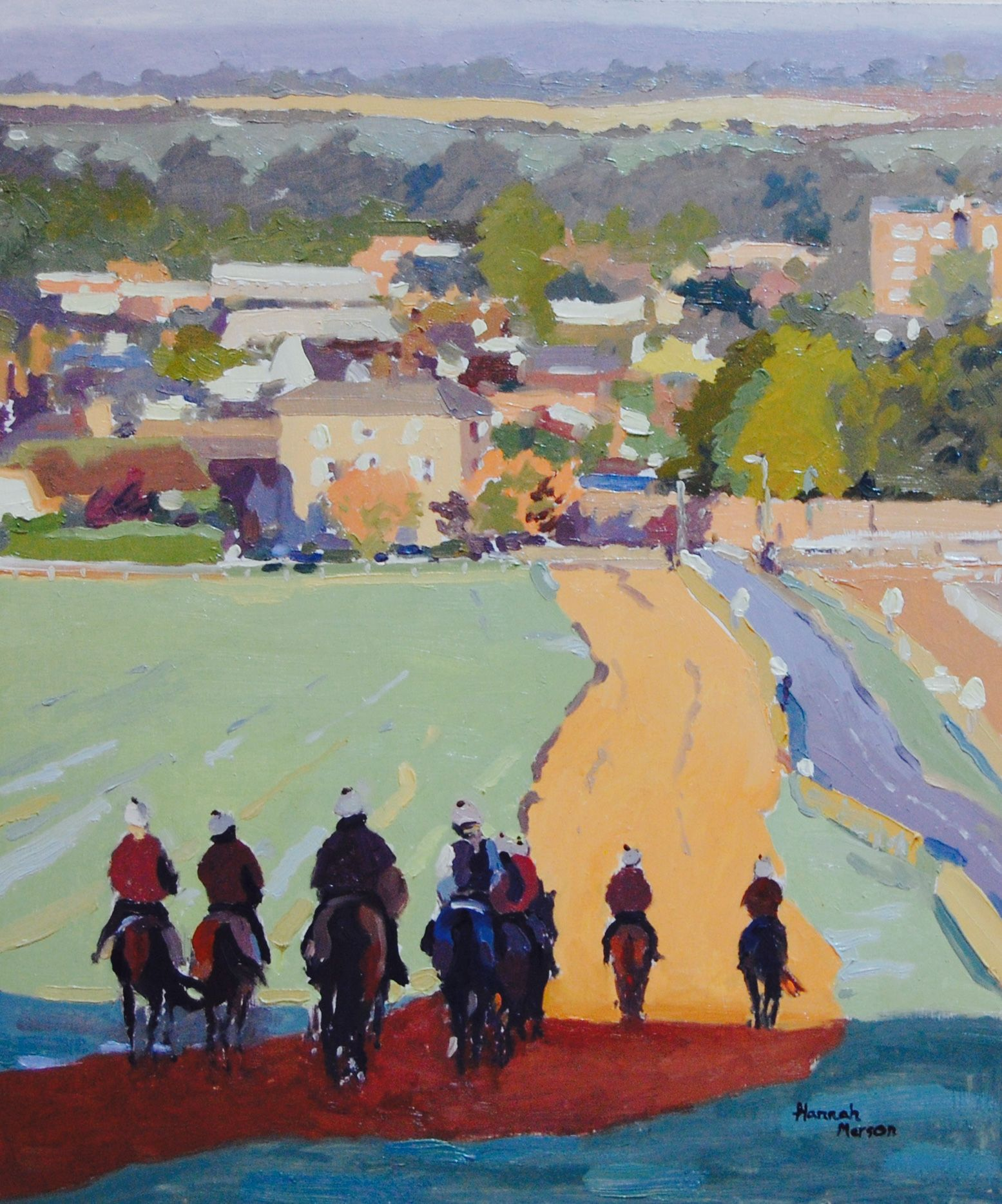 "Newmarket"" 10″x12″ Oil on Panel. Looking down Warren Hill towards Newmarket as the sun bathes everything in lovely light and the strings make their way back home."