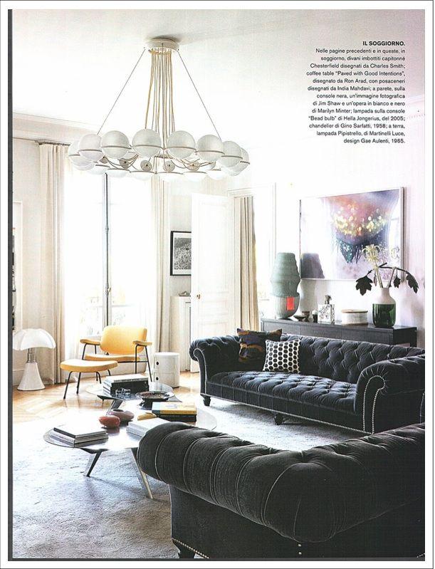 Sandra Benhamou's apartment in Paris with Pipistrello: an interior decorator who loves the sixties! credits@Casa&Stili