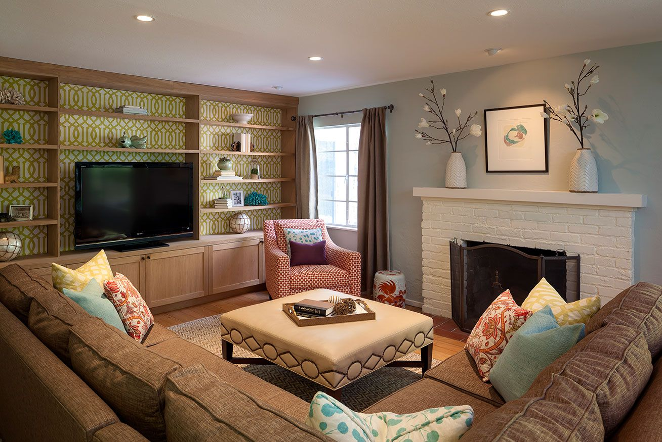 Family Room Kelly Scanlon Interior Design Like The Shelves Builtin Around Tv