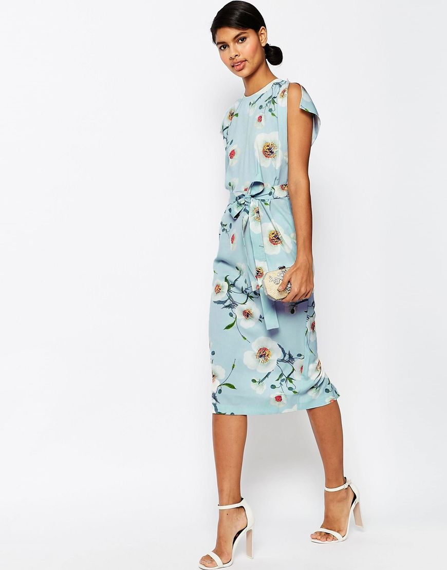 Belted Midi Dress with Split Cap Sleeve in Occasion Floral | Midi ...