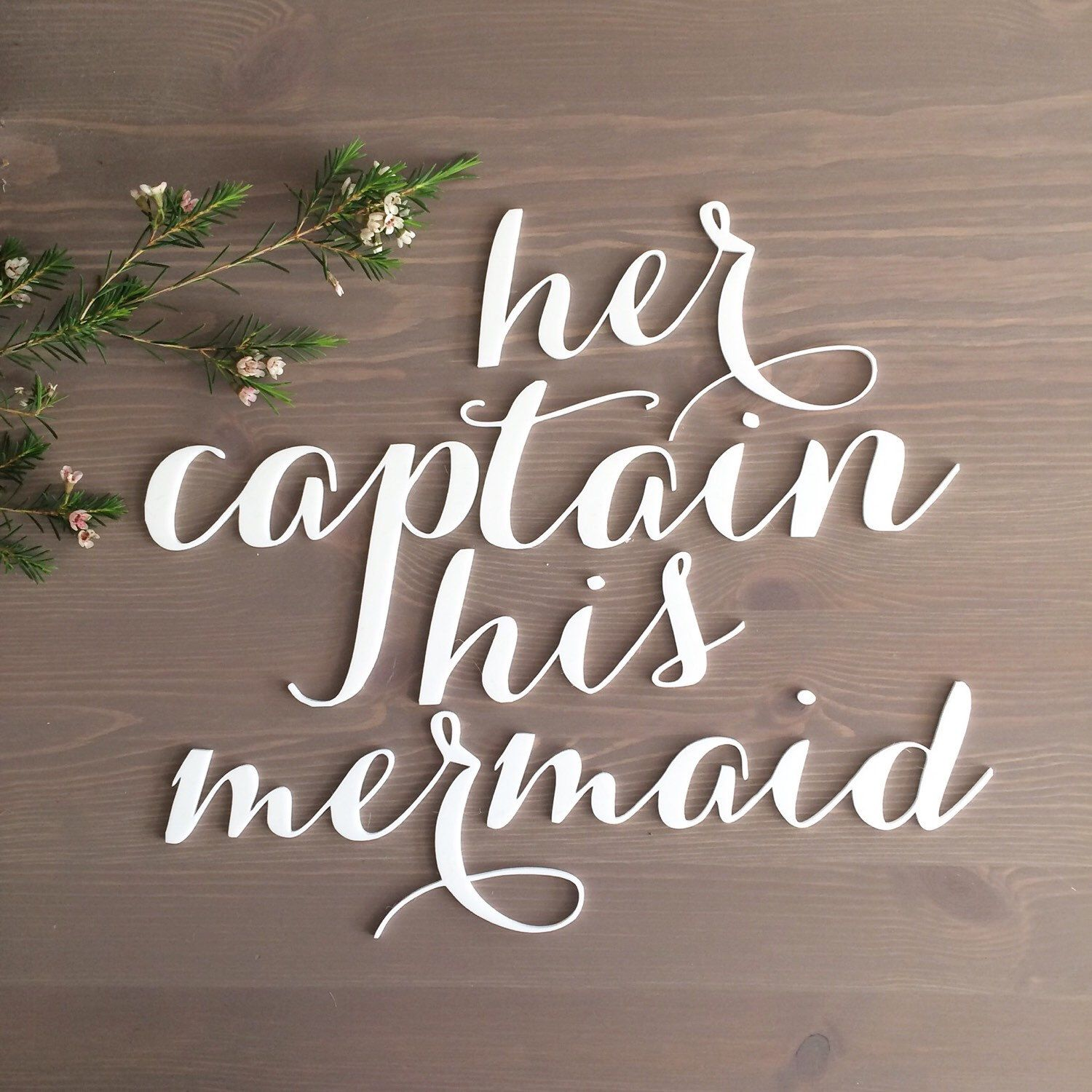 Her Captain His Mermaid Signs / Beach Wedding / Chair Signs / Disney Wedding / Bride Groom Signs / Laser Cut Signs / Calligraphy Signs by SugarAndChicShop on Etsy https://www.etsy.com/listing/232125089/her-captain-his-mermaid-signs-beach