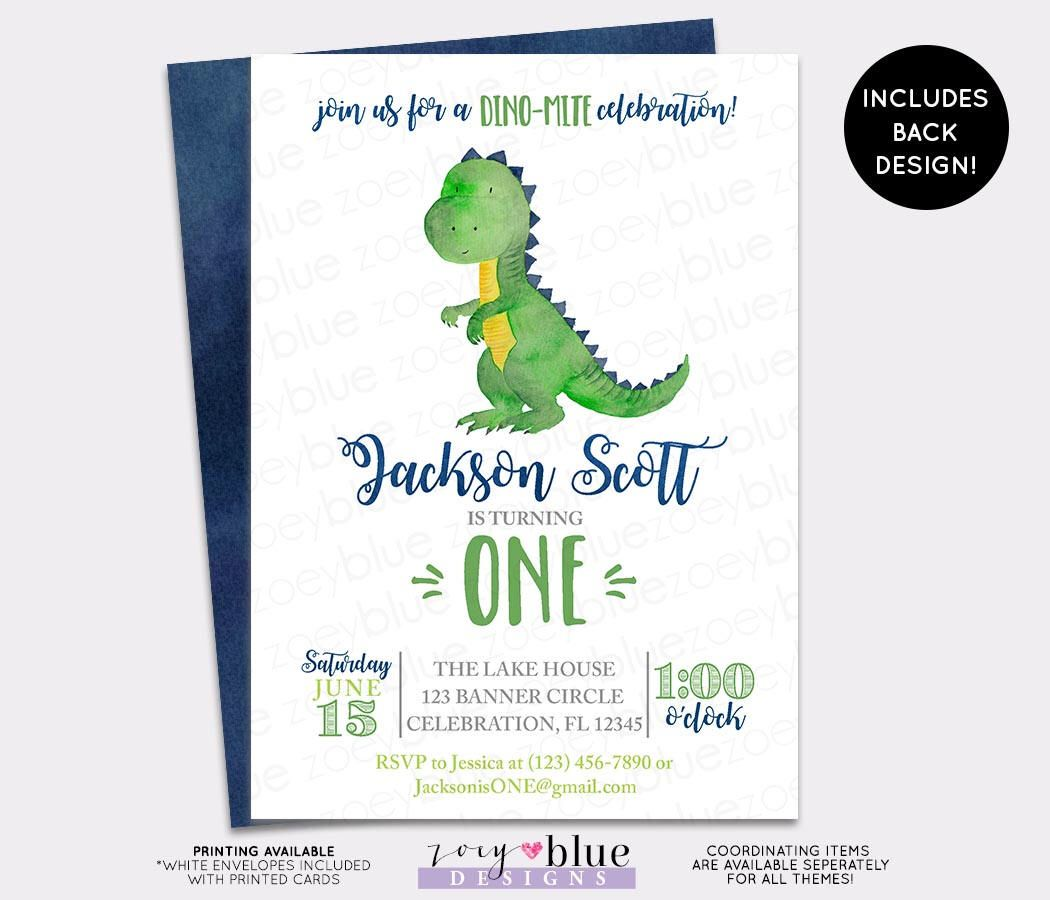 Dinosaur Birthday Invitation - Trex Watercolor Boy Birthday Invite ...