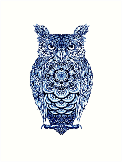 Blue Owl Fun Bird Graphic For Owl Lovers Art Print By Atteestude Owl Tattoo Design Owls Drawing Tattoos