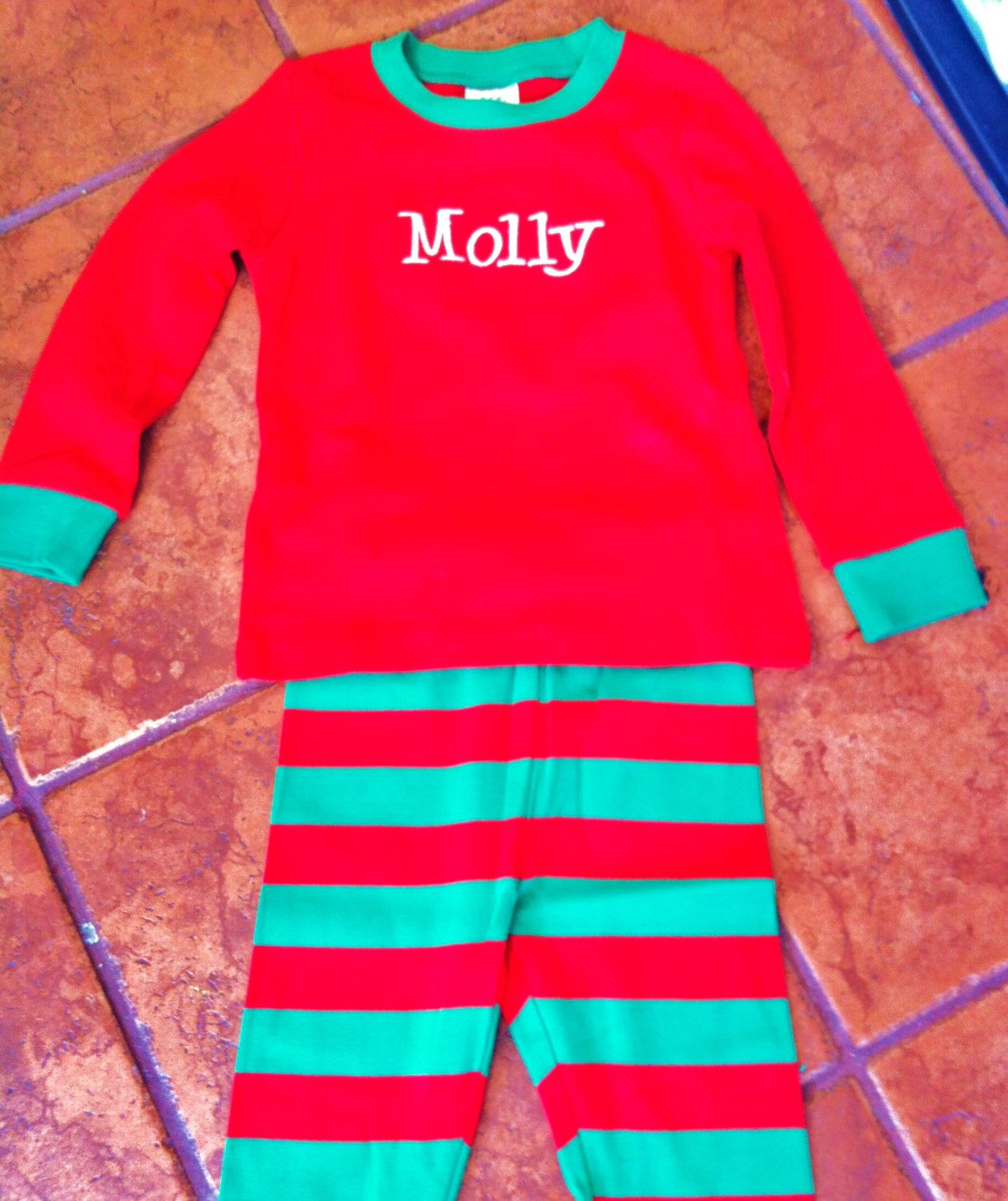 Personalized Christmas Pajamas Jammies by flauntthename on Etsy https://www.etsy.com/listing/208656408/personalized-christmas-pajamas-jammies