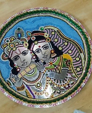 Aarti thali decoration ideas for janmashtami decoration for Aarti dish decoration