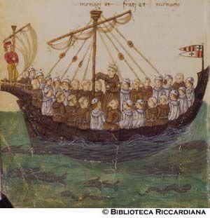 FILIPPO CALANDRI,  Francescani e camaldolesi su una nave in pellegrinaggio al Santo sepolcro, c. 115v Partendosi da Firenze 15 frati di Sancto Francesco per ire im pellegrianaggio al Sipolcro s'accompagnarono in fra via con 15 monacj di Camaldoli..., a Vinegia montarono in su'na barcha per andare in Gerasulem...volendp algerire la nave el padrone dicie che 15 di loro volveva gittare in mare... contando di 9 in 9... e trati tuttj restarono è monaci   tuttj furono gittatj in mare
