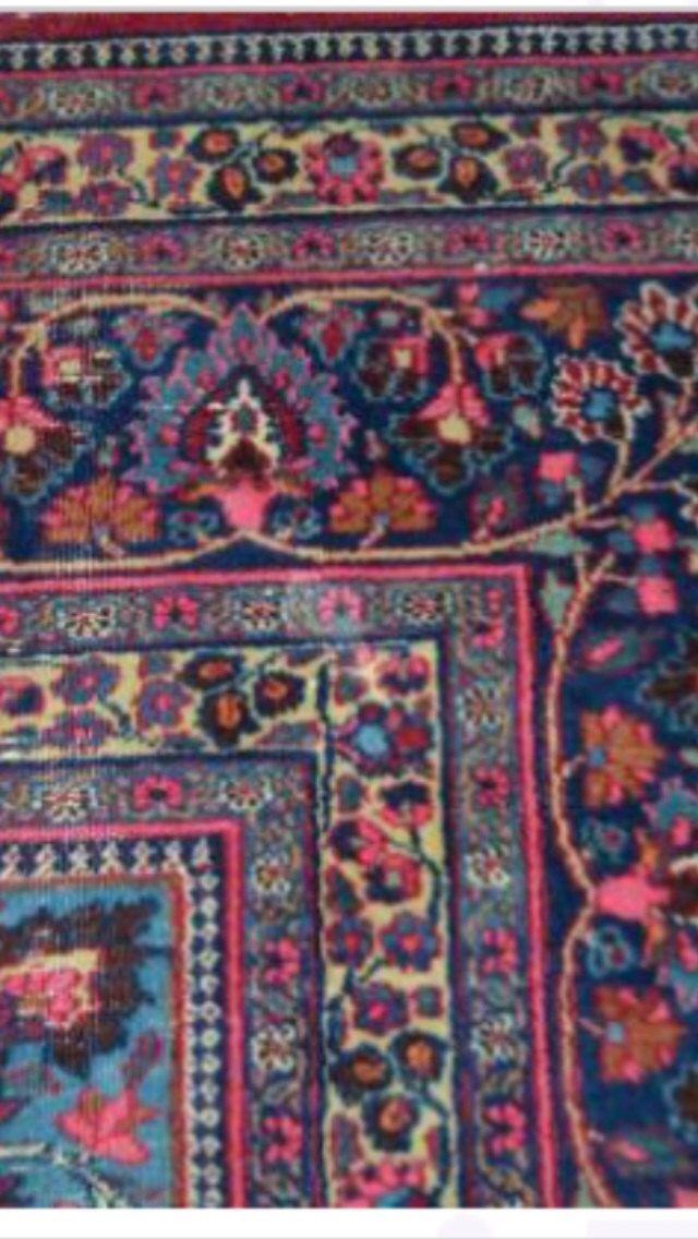 Large Antique Persian Carpet Handmade Rug Room Size 10 5 X 13 Pink Navy Blue Multi Color Kashan Mashad Design Antique Persian Carpet Carpet Handmade Persian Carpet
