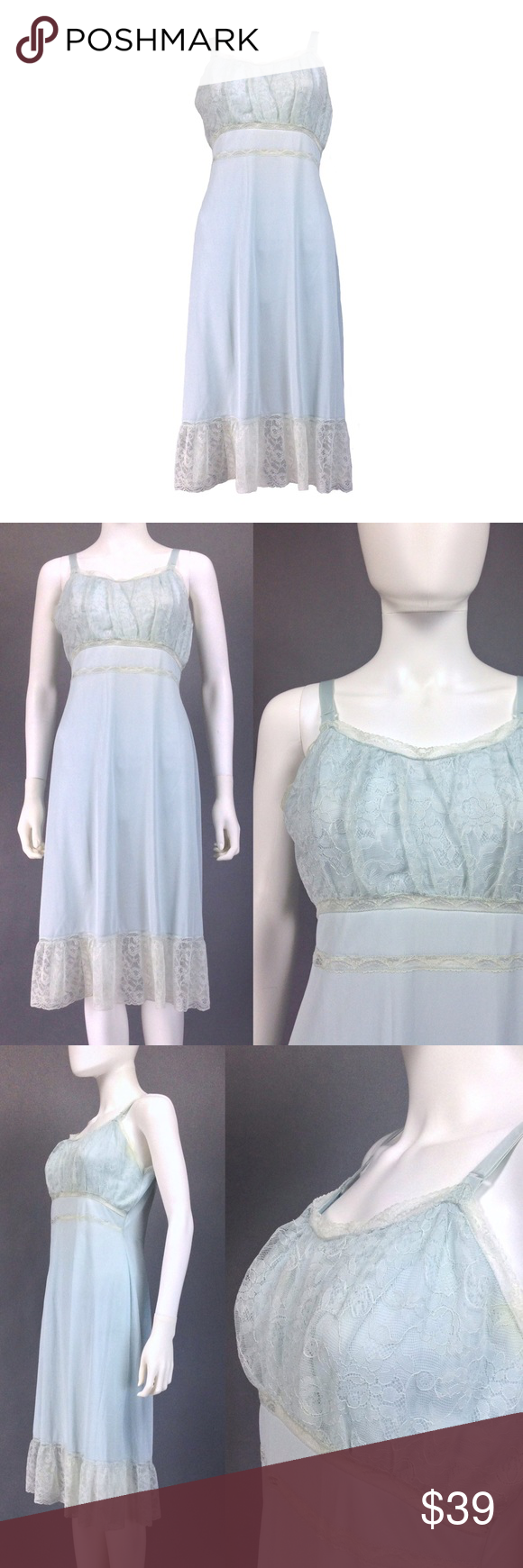 VINTAGE LINGERIE 50s Slip LACE HEM Powder Blue Coming soon Vintage Intimates & Sleepwear Chemises & Slips