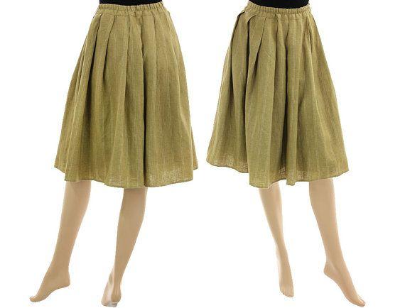 Great boho wide flared skirt linen-wool blend in von classydress