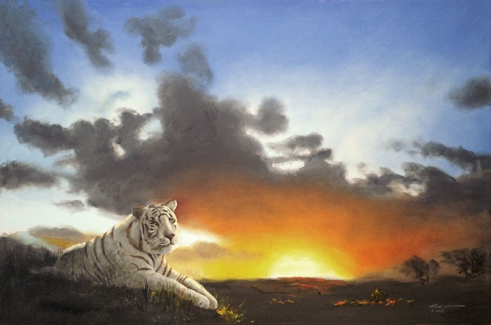 WHITE TIGER wildlife cat animal 24x36 oils on canvas by RUSTY RUST / T-68