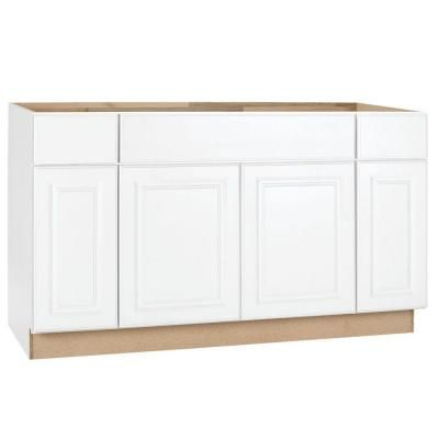 Hampton Bay In Hampton Sink Base Cabinet In Satin White Ksb60 Sw At The Home Depot