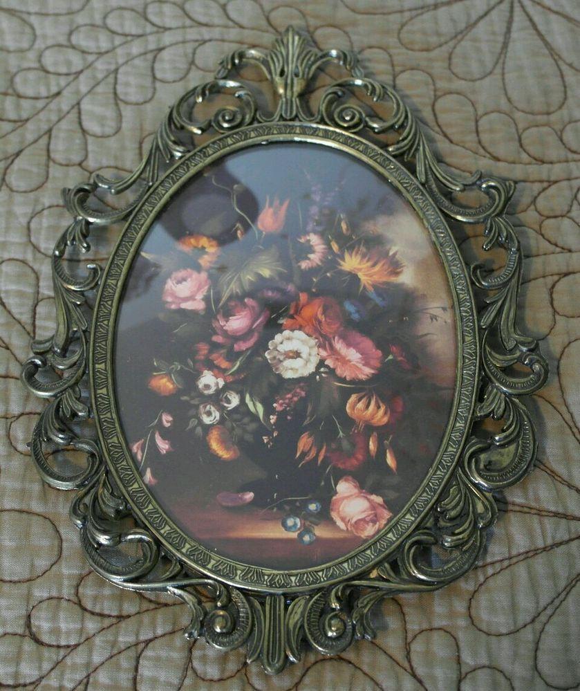 Vintage convex bubble glass picture brass tone frame flowers 10 vintage convex bubble glass picture brass tone frame flowers 10 tall italy jeuxipadfo Images